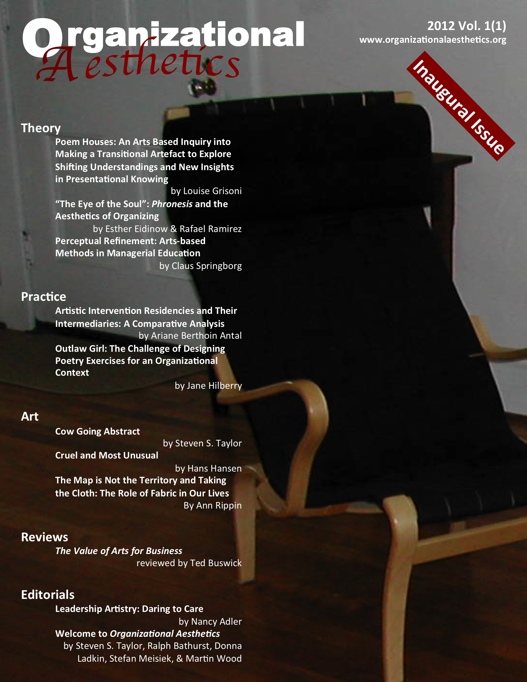 Organizational Aesthetics Cover Issue Vol. 1(1)